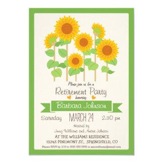 """Girasoles; Fiesta de retiro floral anaranjado y Invitación 5"""" X 7"""""""