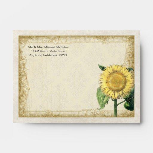 Girasoles florales del vintage A6 - boda de la caí