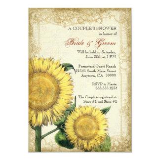 Girasoles florales del vintage - boda de la caída invitación 12,7 x 17,8 cm