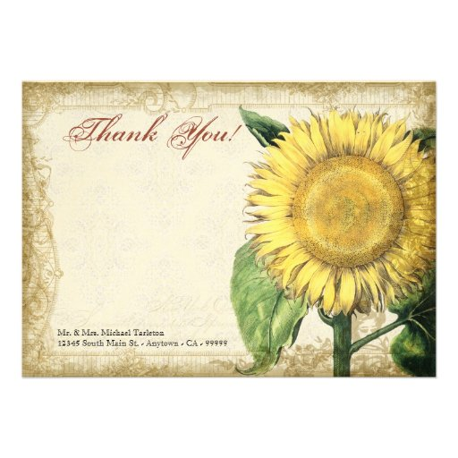 Girasoles florales del vintage - boda de la caída  invitacion personalizada