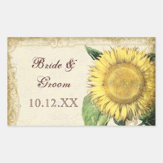 Girasoles florales del vintage - boda de la caída rectangular pegatinas