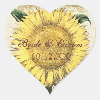 Girasoles florales del vintage - boda de la caída pegatina de corazon personalizadas