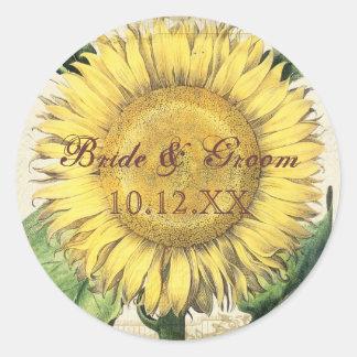 Girasoles florales del vintage - boda de la caída pegatina redonda