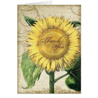 Girasoles florales del vintage - boda de la caída tarjeta pequeña