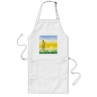 Girasoles, flores blancas, Sun, Delantal Largo