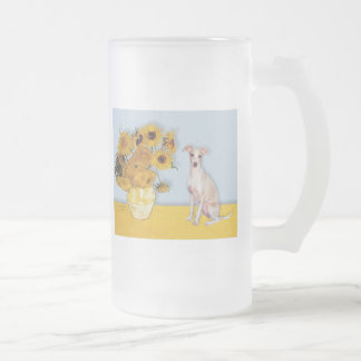 Girasoles - galgo italiano 5 taza de cristal