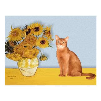 Girasoles - gato abisinio rojo postal
