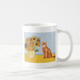 Girasoles - gato abisinio rojo taza
