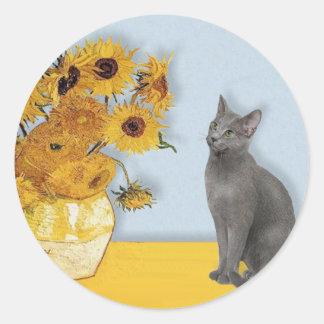 Girasoles - gato azul ruso etiquetas redondas