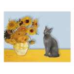 Girasoles - gato azul ruso postal