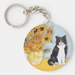 Girasoles - gato blanco y negro llavero personalizado