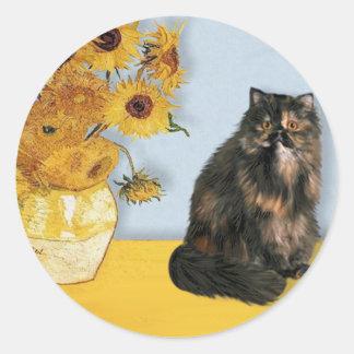 Girasoles - gato de calicó persa etiqueta redonda