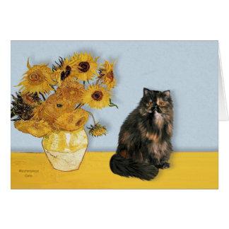 Girasoles - gato de calicó persa felicitacion