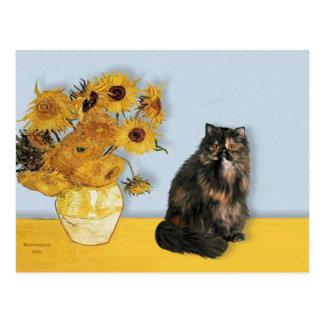 Girasoles - gato de calicó persa tarjetas postales