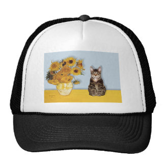Girasoles - gato de tigre del Tabby 30 Gorra