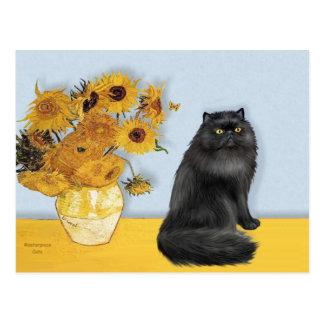 Girasoles - gato persa (negro) postal