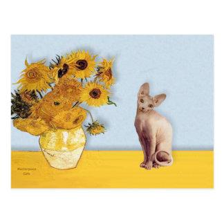Girasoles - gato poner crema de Sphyx Tarjetas Postales