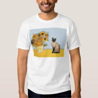 Girasoles - gato siamés del punto del sello playera