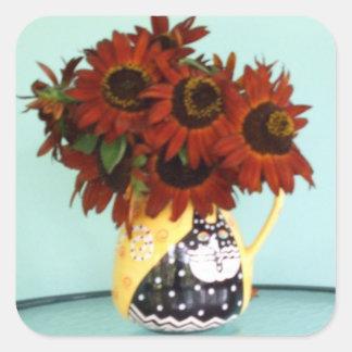 Girasoles inspiradores de la belleza del otoño en pegatina cuadrada