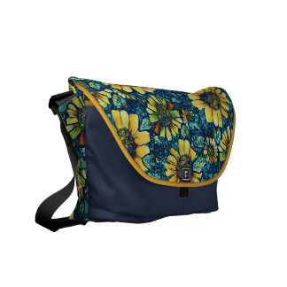 Girasoles la bolsa de mensajero floral del person bolsa de mensajeria