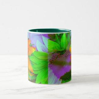 Girasoles multicolores de la taza de café de la ta
