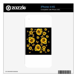 Girasoles orientales de las mariposas del amarillo iPhone 4S calcomanías