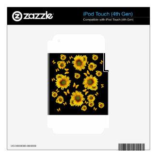 Girasoles orientales de las mariposas del amarillo iPod touch 4G calcomanía