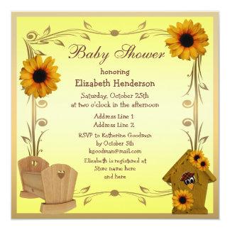 Girasoles, pesebre y cuervo de la fiesta de invitación 13,3 cm x 13,3cm