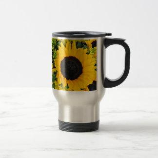 Girasoles pintados amarillo taza de viaje