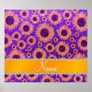 Girasoles púrpuras personalizados del brillo del poster