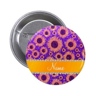 Girasoles púrpuras personalizados del brillo del pins