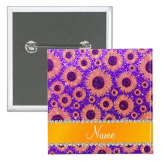 Girasoles púrpuras personalizados del brillo del pin