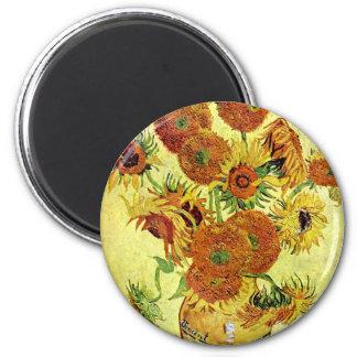 Girasoles que pintan a Van Gogh Imán Redondo 5 Cm