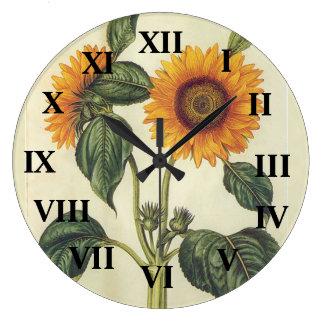 Girasoles Reloj Redondo Grande