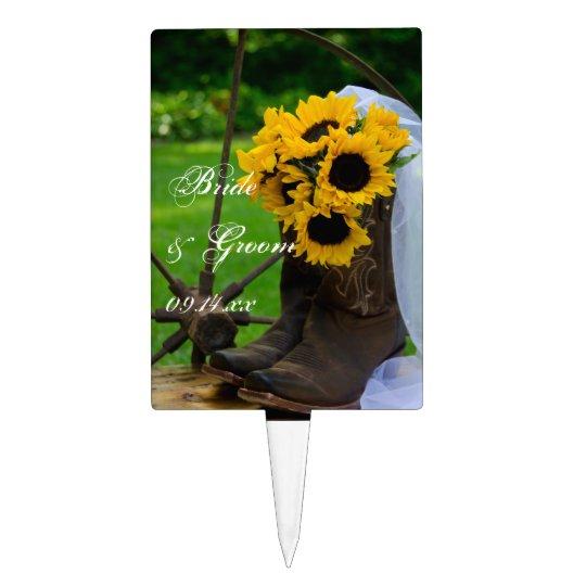Girasoles rústicos y boda del país de las botas de decoraciones de tartas