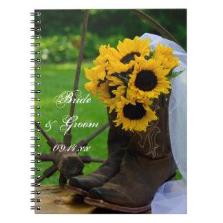 Girasoles rústicos y boda del país de las botas de note book