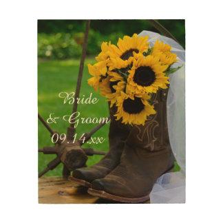 Girasoles rústicos y boda occidental de las botas impresión en madera