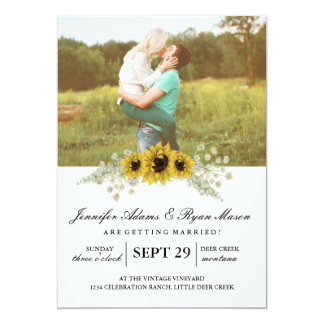 """Girasoles simples del boda de la foto invitación 5"""" x 7"""""""