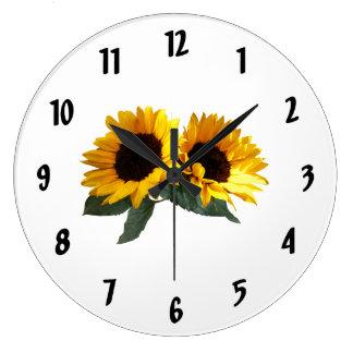 Girasoles soleados reloj redondo grande