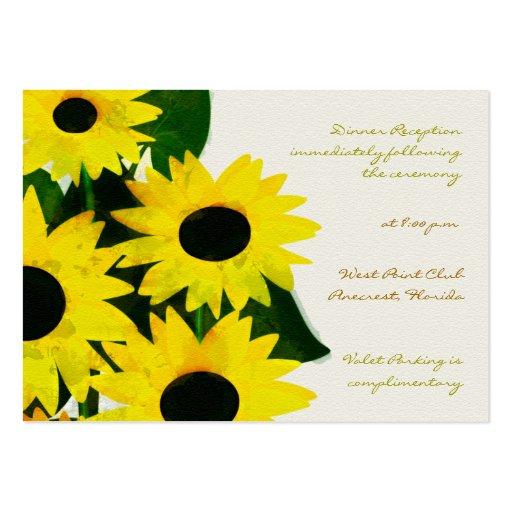 Girasoles soleados - tarjetas de la recepción tarjeta de visita