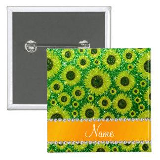 Girasoles verdes conocidos personalizados del pin
