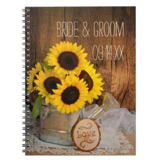 Girasoles y boda de la regadera del jardín cuaderno