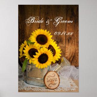 Girasoles y boda de la regadera del jardín póster