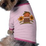 Girasoles y calabaza camiseta de perrito