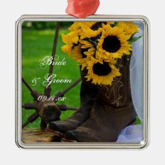 Girasoles y cuadrado del boda del país de las adorno navideño cuadrado de metal