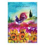 GIRASOLES Y GALLO NEGRO, púrpura roja amarilla Invitaciones Personalizada