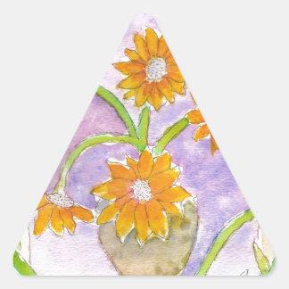 Girasoles y iris falsos de Van Gogh Pegatina Triangular