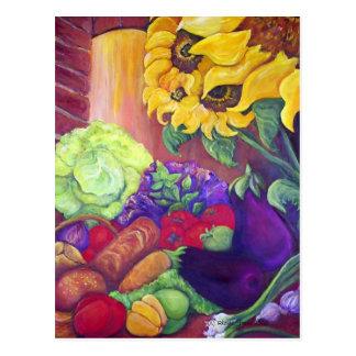 Girasoles y postal de los Veggies