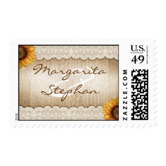 girasoles y sellos de madera rústicos del boda del