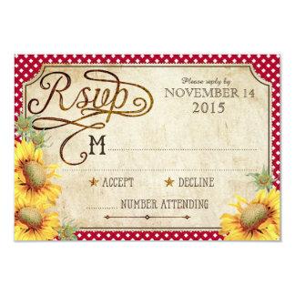 """Girasoles y tarjeta de Picinic RSVP del país del Invitación 3.5"""" X 5"""""""